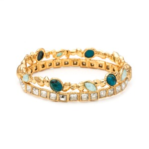 Gold Muse D'or Stacked Hinged Bracelet
